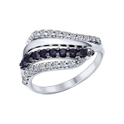 Кольцо из серебра с фианитами и чёрными фианитами