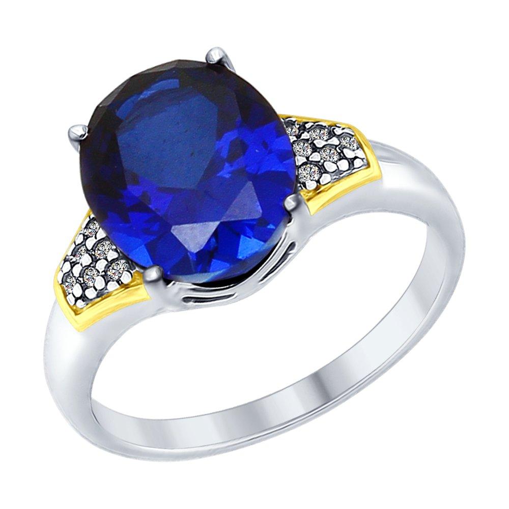 Кольцо SOKOLOV из серебра с золочением и синим корундом (синт.) и фианитами кольцо из серебра с синим корундом синт и фианитами