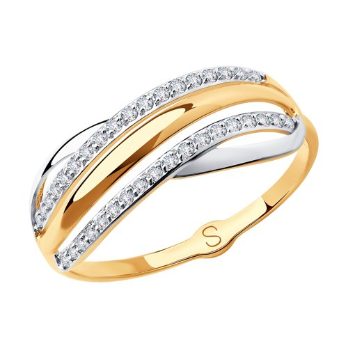 Кольцо из золота с фианитами (018026) - фото