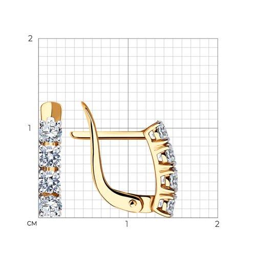 Серьги из золота с фианитами (027449) - фото №2