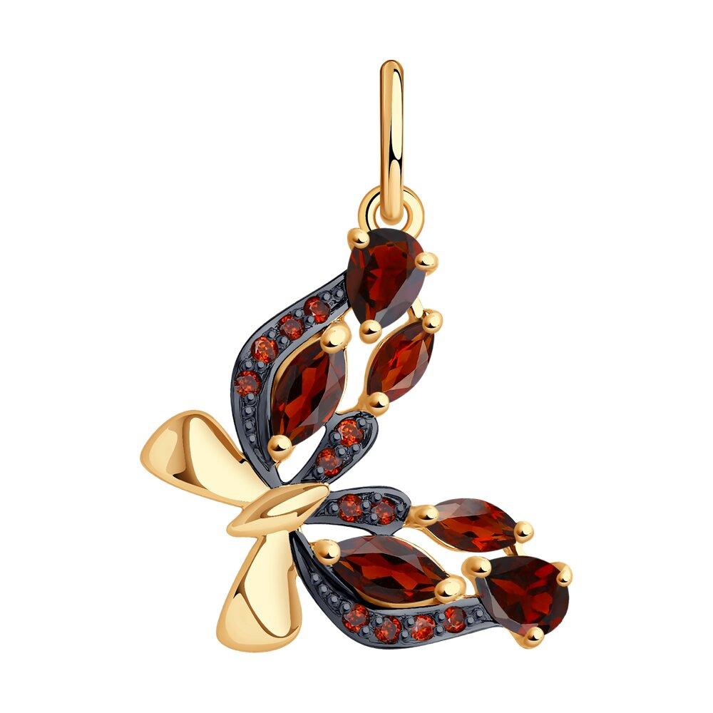 Золотая подвеска в виде бабочки с гранатами и красными фианитами SOKOLOV золотая подвеска в виде бабочки с агатами и фианитами sokolov