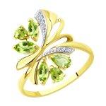 Кольцо из желтого золота с хризолитами и