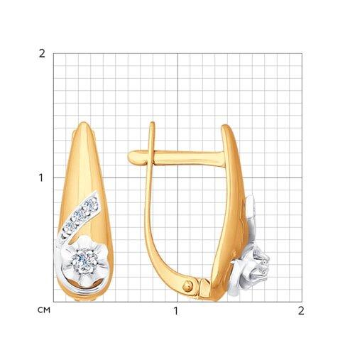 Серьги из комбинированного золота с бриллиантами (1020888) - фото №2