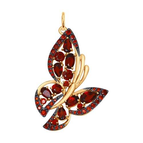 Подвеска «Бабочка» из золота с гранатами и красными фианитами