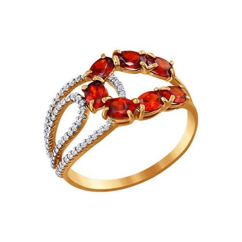 Кольцо из золота с фианитами красного цвета