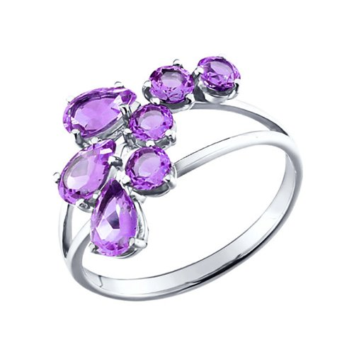 Кольцо из серебра c аметистами «Гладиолус»