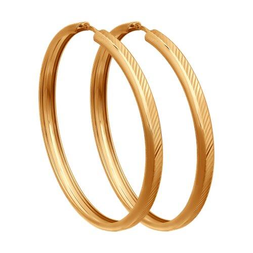 """Золотые серьги """"Конго"""", диаметром 30 мм. 140026 sokolov фото"""