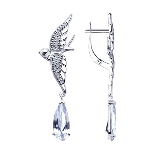 Серьги из серебра с фианитами (94023310) - фото