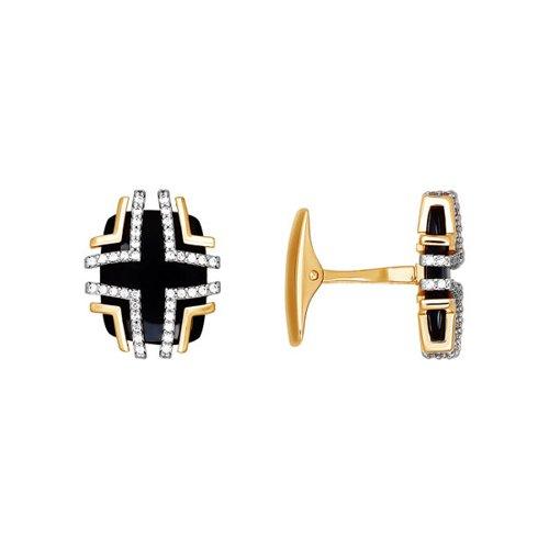 Запонки SOKOLOV из золота с вставкой из чёрного фианита