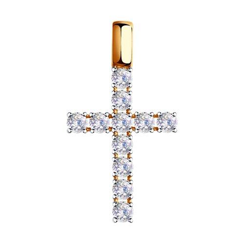 Крестик из золота со Сваровски