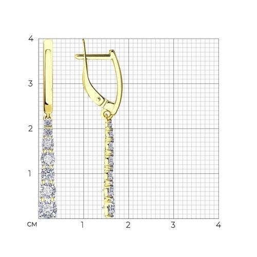 Серьги из желтого золота с фианитами (027490-2) - фото №2