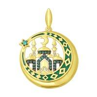 Подвеска из желтого золота с эмалью  и зелёными фианитами