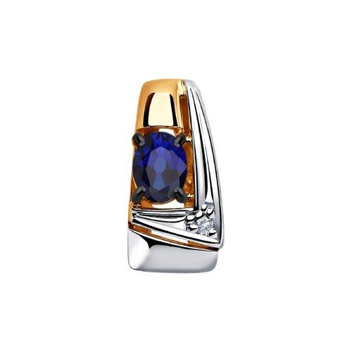 Подвеска из золота с бриллиантом и синими корундами 6032069 SOKOLOV фото