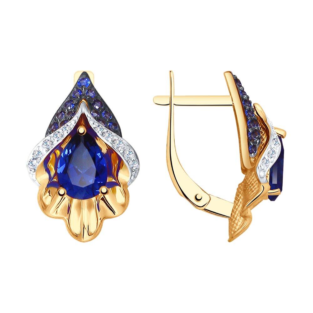 Серьги SOKOLOV из золота с синими корундами (синт.) и бесцветными и синими фианитами подвеска из комбинированного золота с бесцветными и синими фианитами