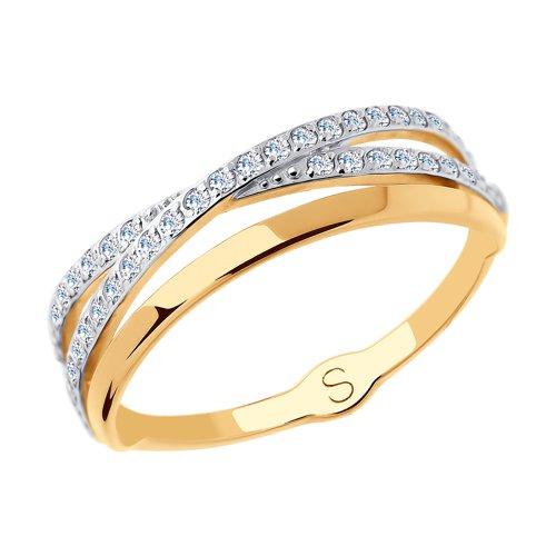 Кольцо из золота с фианитами (018011) - фото
