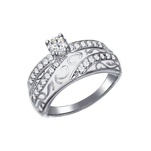 Кольцо из серебра с эмалью с фианитами (94011134) - фото