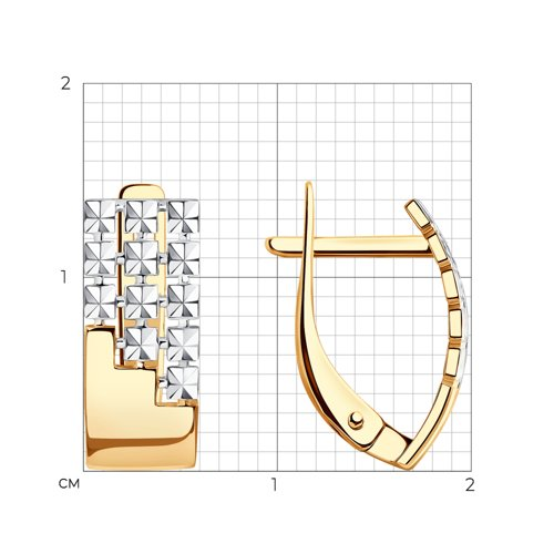 Серьги из золота с алмазной гранью (027363) - фото №2