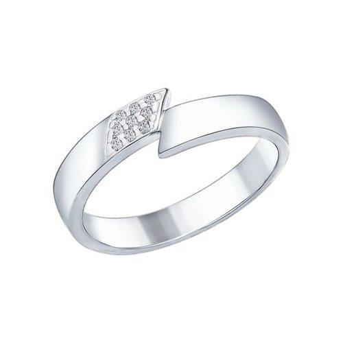 Кольцо из серебра с фианитами (94011971) - фото