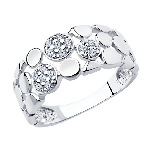 Кольцо из родированного серебра с фианитами