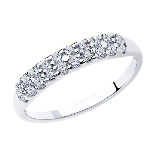 Кольцо из серебра с фианитами (94011718) - фото