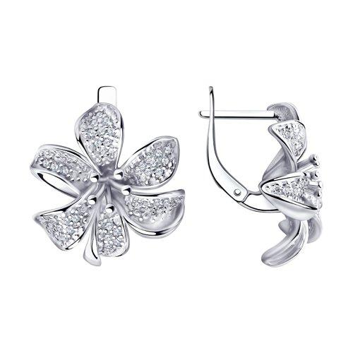 Серьги из серебра с фианитами (94020903) - фото