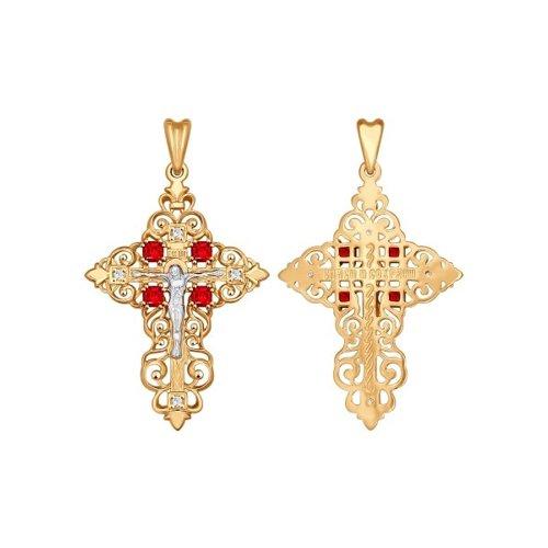 Золотой крест c красными фианитами