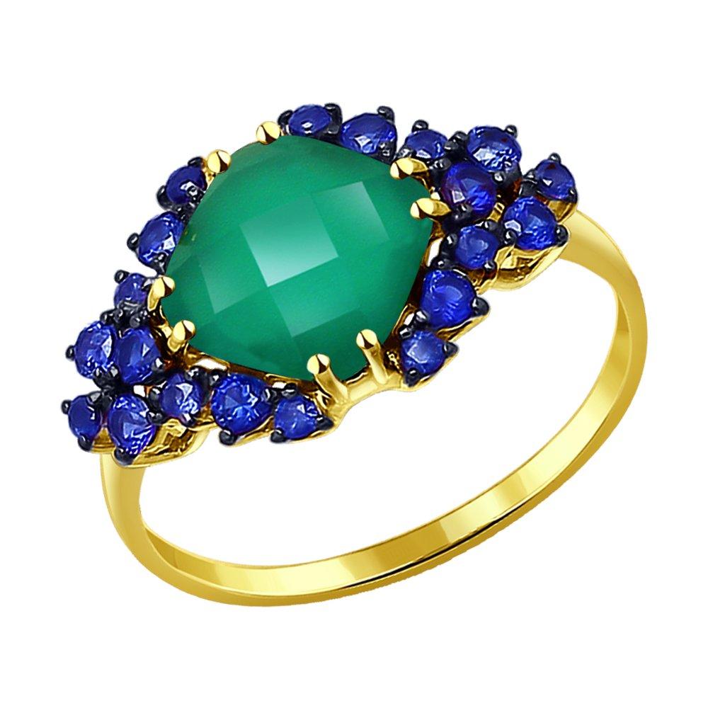 Фото - Кольцо SOKOLOV из желтого золота с агатом и синими корунд (синт.) кольцо sokolov из желтого золота с синими корунд синт синим опалом и зелеными и синими фианитами