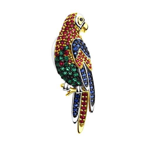 Брошь из серебра «Попугай» (94040138) - фото