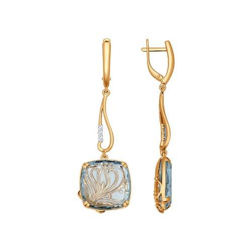 Серьги длинные из золота с бриллиантами и голубым кварцем