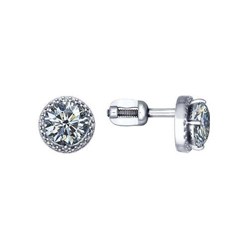 Серьги-пусеты из серебра с фианитами (94020573) - фото