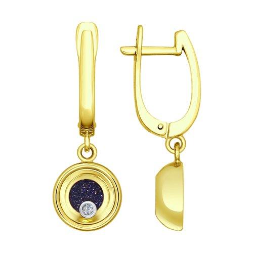 Серьги из комбинированного золота с миксом камней (1021093-2) - фото