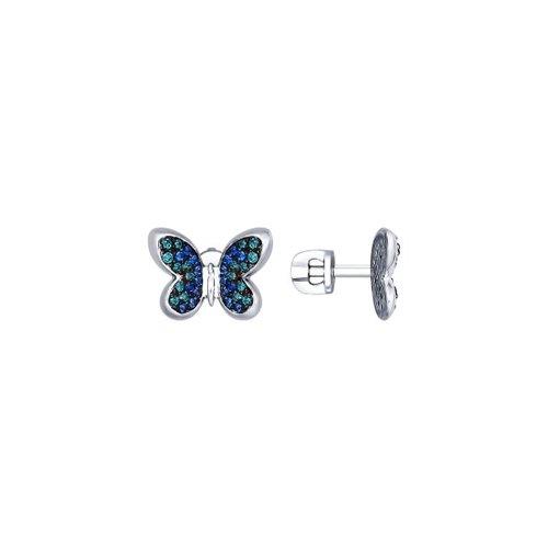 Серьги-пусеты из серебра с зелеными и синими фианитами