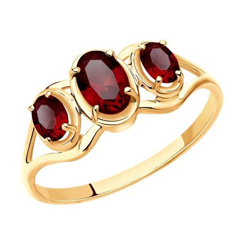 Кольцо из золота с гранатами (715409) - фото