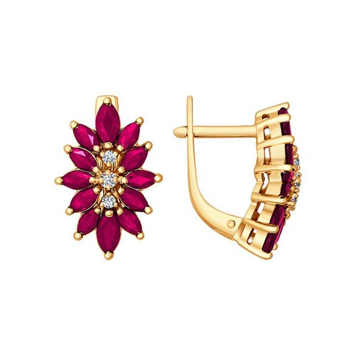 Серьги-цветы из золота c тремя бриллиантами и рубинами