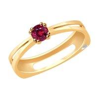 Кольцо из золота с бриллиантом и рубином