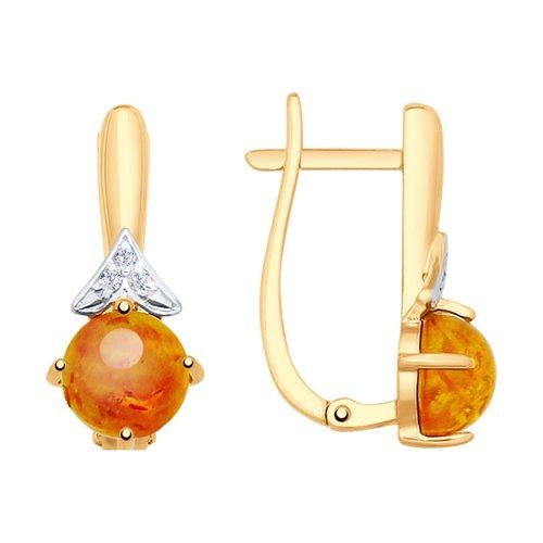 Серьги из золота с янтарём и фианитами