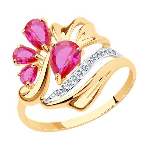 Кольцо из золота с родолитами и фианитами