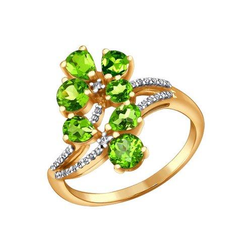 Кольцо из золота 585 пробы с хризолитами