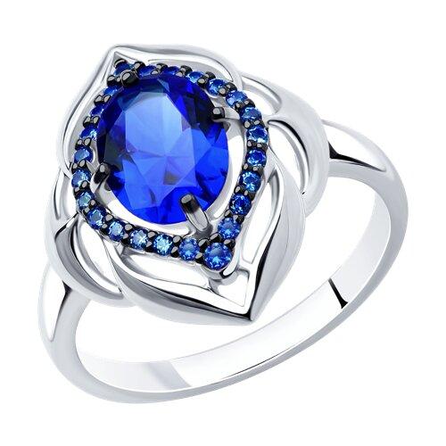 Кольцо из серебра с корундом сапфировым (синт.) и синими фианитами (88010035) - фото