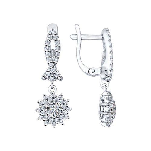 Серьги из серебра с фианитами (94021975) - фото