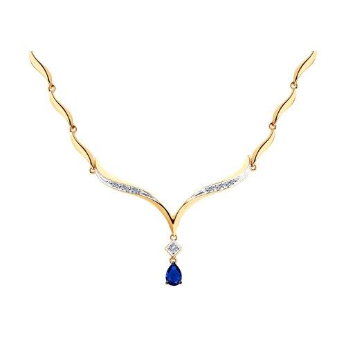 Колье из золота с бриллиантами и синими корундами