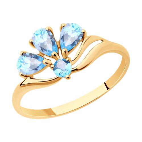 Кольцо из золота с голубыми топазами (714593) - фото