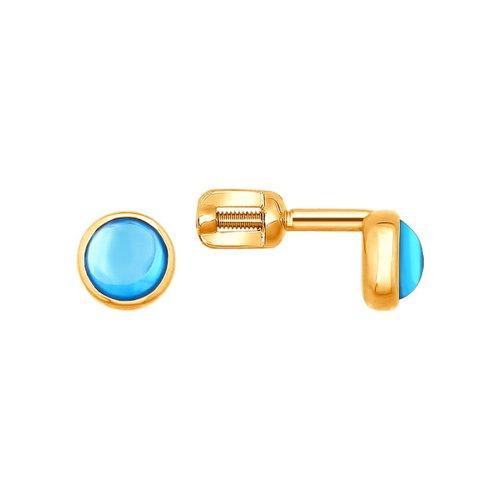 Золотые пусеты с голубым топазом SOKOLOV