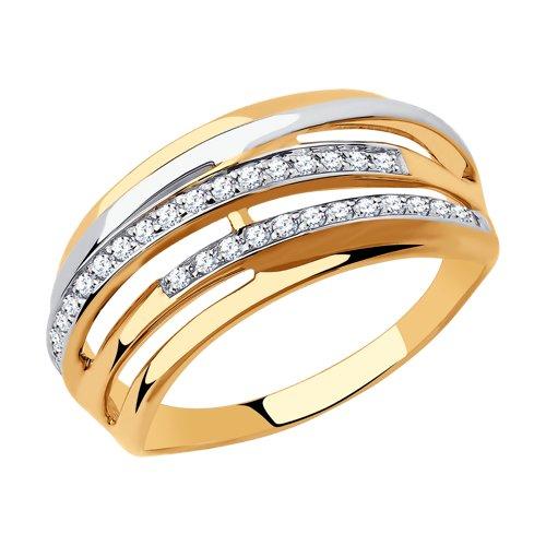 Кольцо из золота с фианитами (018306) - фото