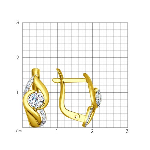 Серьги из желтого золота с фианитами (027462-2) - фото №2