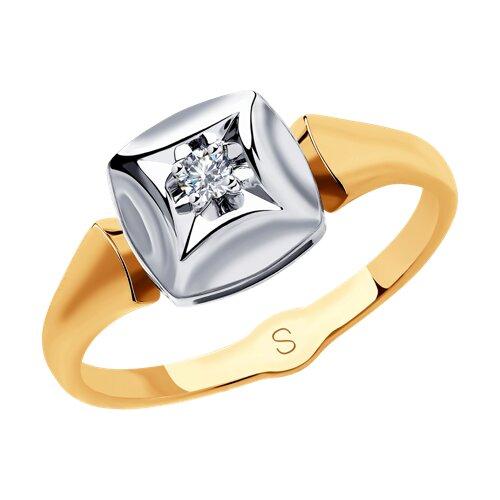Кольцо из золота с бриллиантом (1011832) - фото