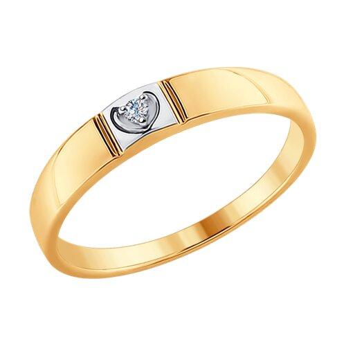 Кольцо из комбинированного золота с бриллиантом (1011617) - фото