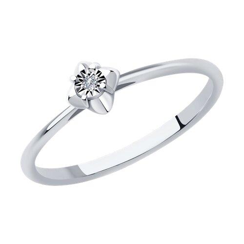 Кольцо из белого золота с бриллиантом (1011948) - фото
