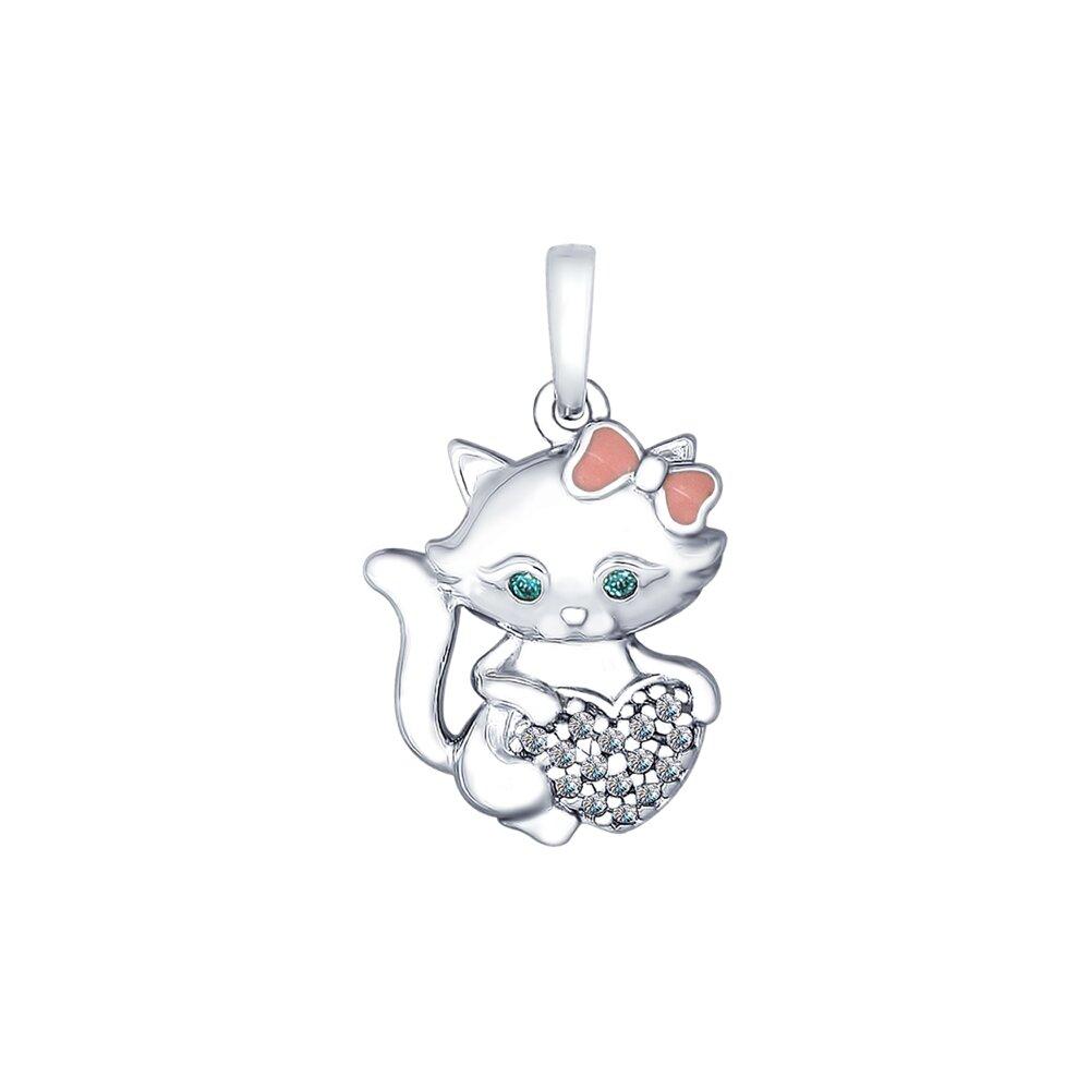 Серебряная подвеска «Кошка» с эмалью и фианитами SOKOLOV недорого