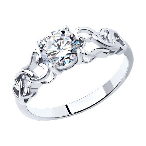 Кольцо из серебра с фианитом (94010858) - фото